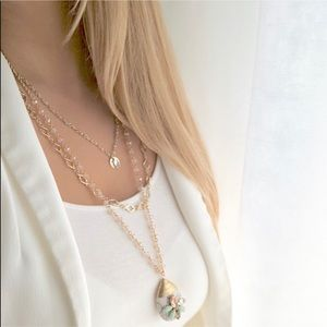 Express gold layered marble pendant necklace